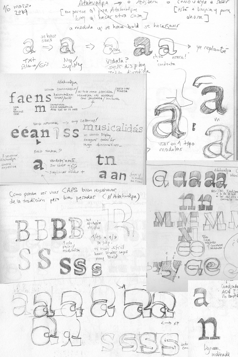 """Sketches from Alejandro's notebooks. """"In my case typefaces ideas evolve slowly on paper for years. Once the forms find their own logic then I start drawing all characters on screen. And then it gets faster. That's why I miss [say] 'final' sketches of my typefaces. All the drawing process takes place on screen where shapes get sharp."""""""