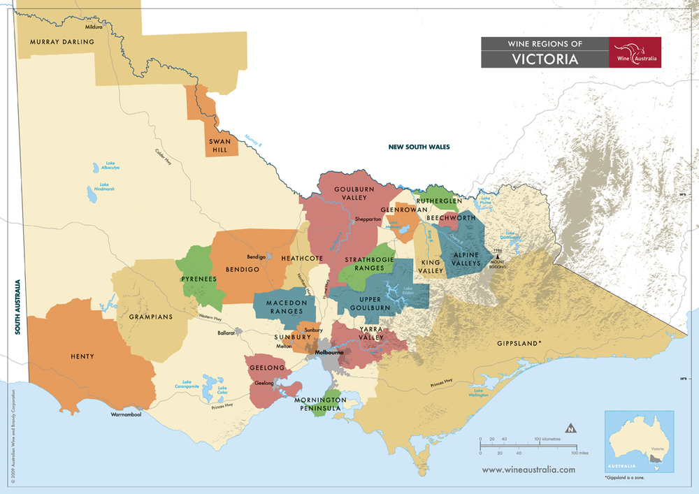 Victoria wine zones and regions as defined by Wine Australia