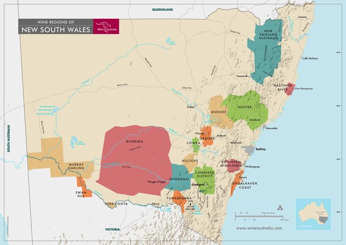The wine regions of New South Wales. Map credit: Wine Australia