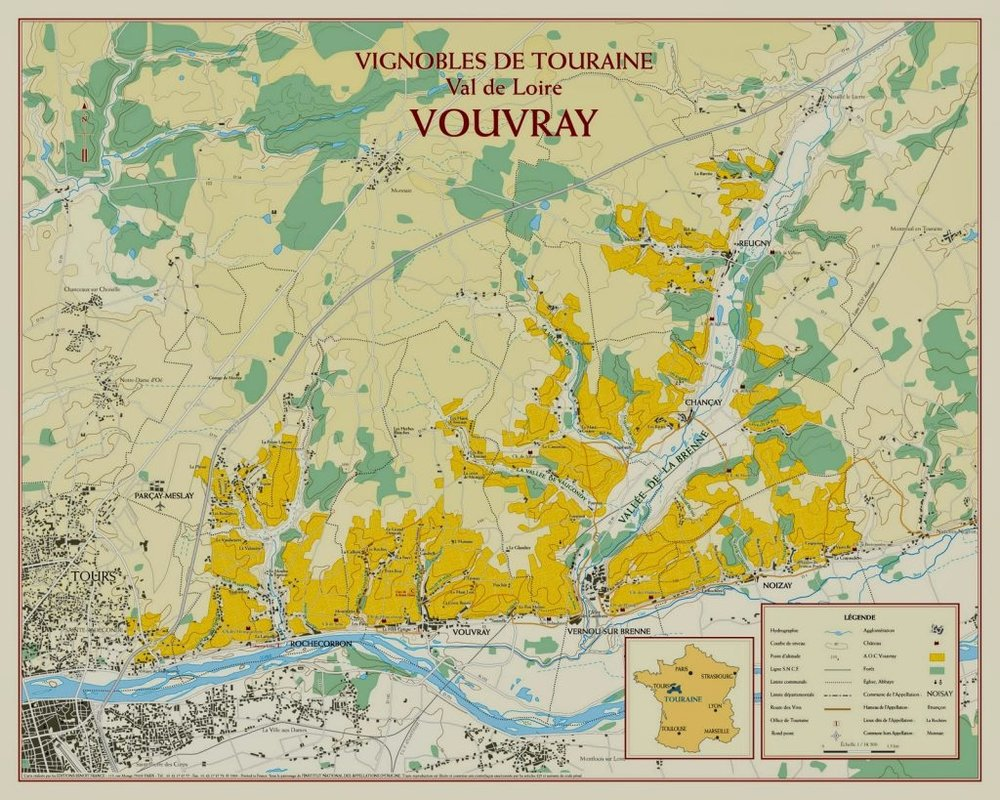 The appellation of Vouvray, East of the city of Tours