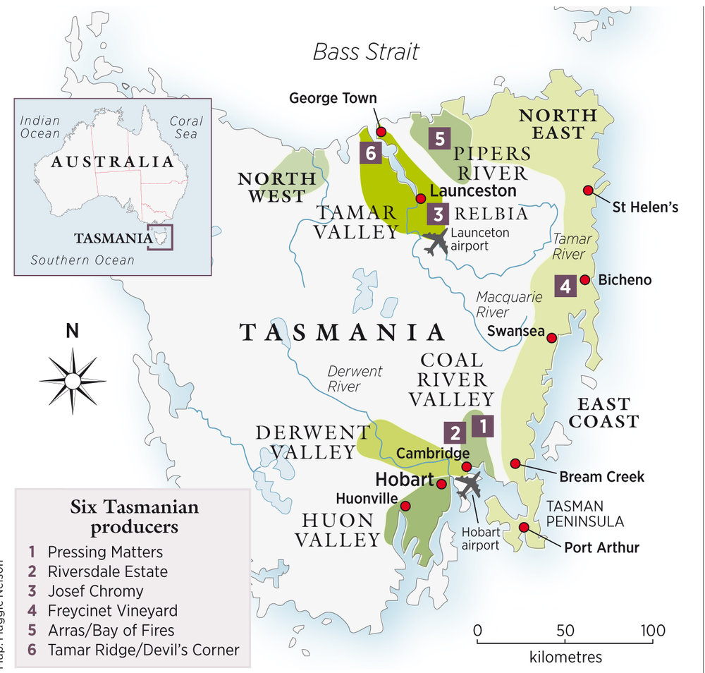 An indicative map of Tasmanian wine regions. Map credit:  Decanter