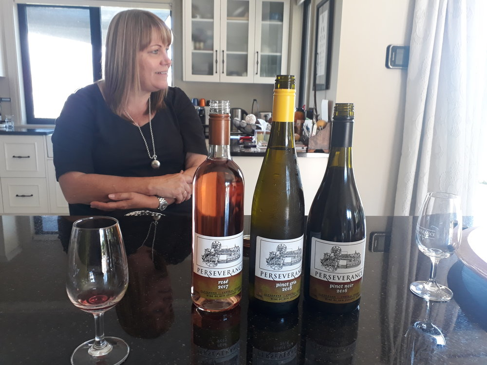 Jennie Hughes & the range of Perseverance Estate wines.