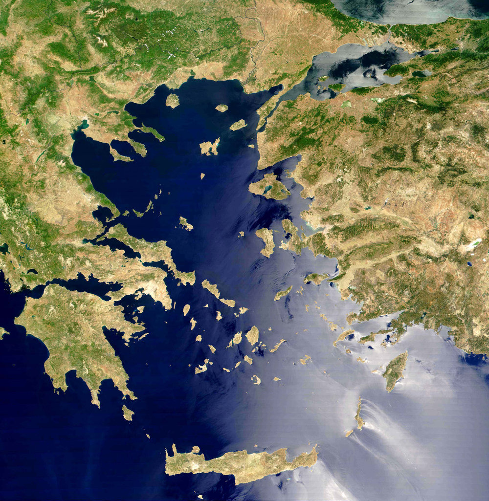 The Aegean Islands scattered across the Aegean Sea