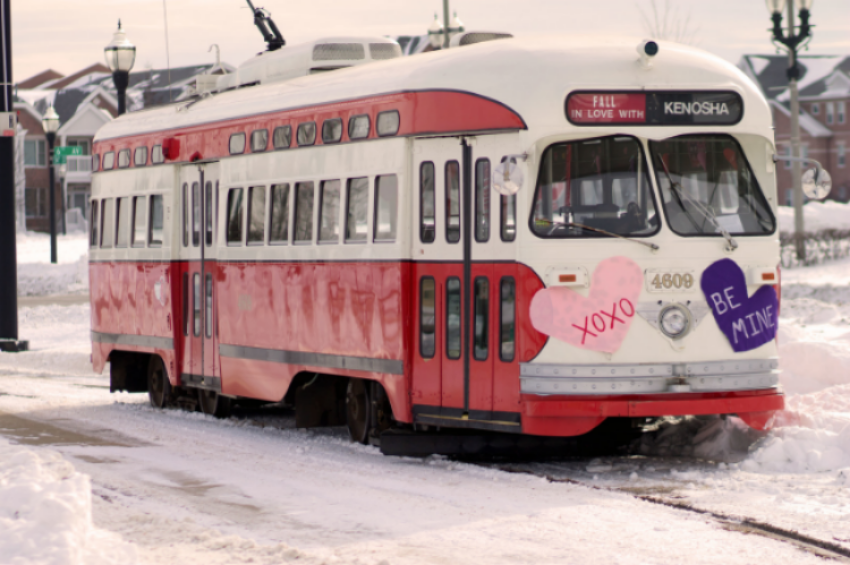 the  valentine's day streetcar will run this weekend from 10:05 a.m. - 5:35 p.m.  FARE: $1.OO aDULTS / .50 CHILDREN 12 AND UNDER.