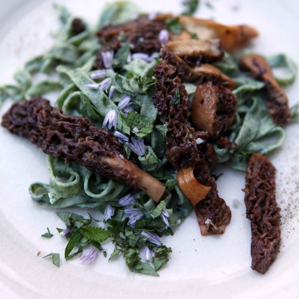 Roasted Wild Morels with Spinach Pasta