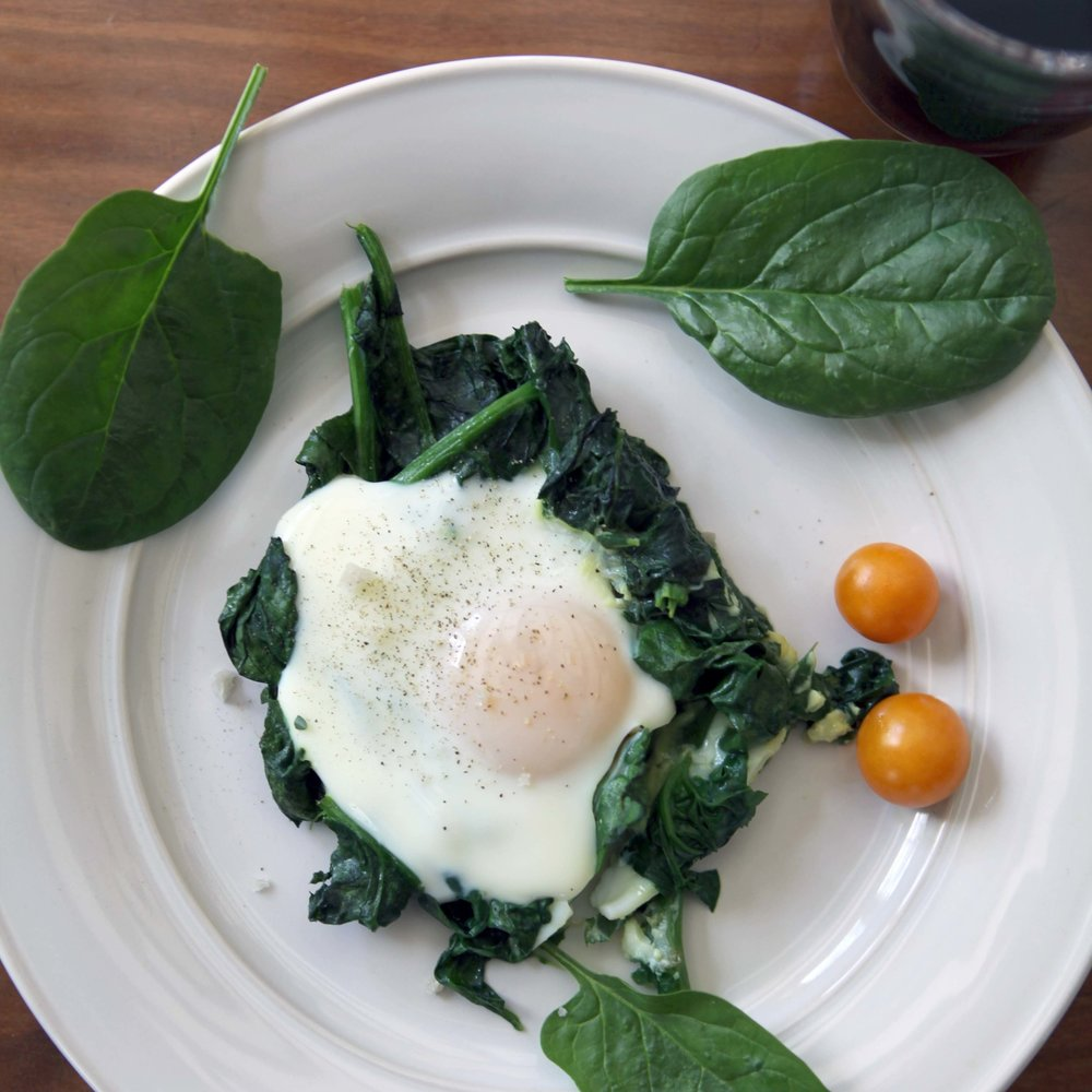 Sautéed Spinach with Eggs