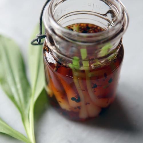 Wild leek pickles