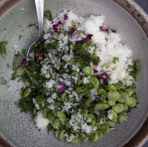 Rose Petal Rice Salad with Fava Beans and Herbs
