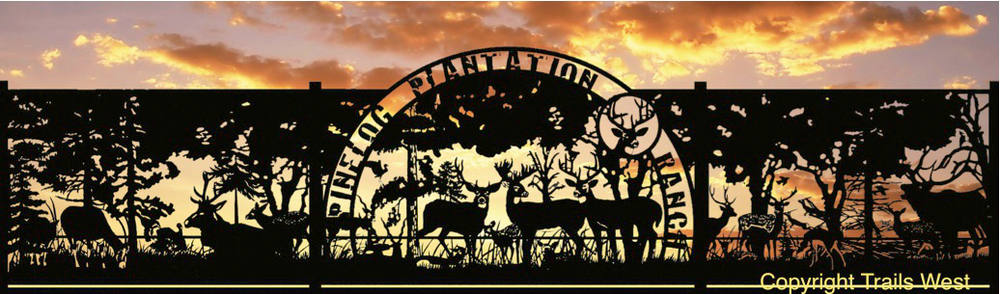PINELOG PLANTATION RANCH  This is was designed and fabricated for a Game Reserve in Louisiana, he had a lot of exotic wildlife which we included in his art.  8' x 16' Single Swing Gate with 8' x 16' Side Panels-Custom