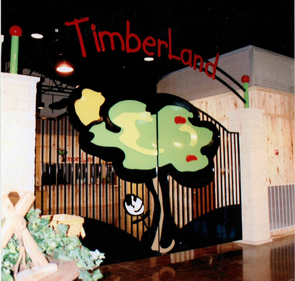 TIMBERLAND  These gates are quite large and hang in a Church in Arglye, Tx. It was built for their gymnasium. We used their logo art here. 20' Double Swing-Custom