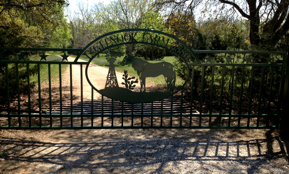 INGLENOOK FARM  This is a beautiful gate in person, and lives on a farm covered in blue bonnets in the spring. Lucky gate. 16' Single Swing