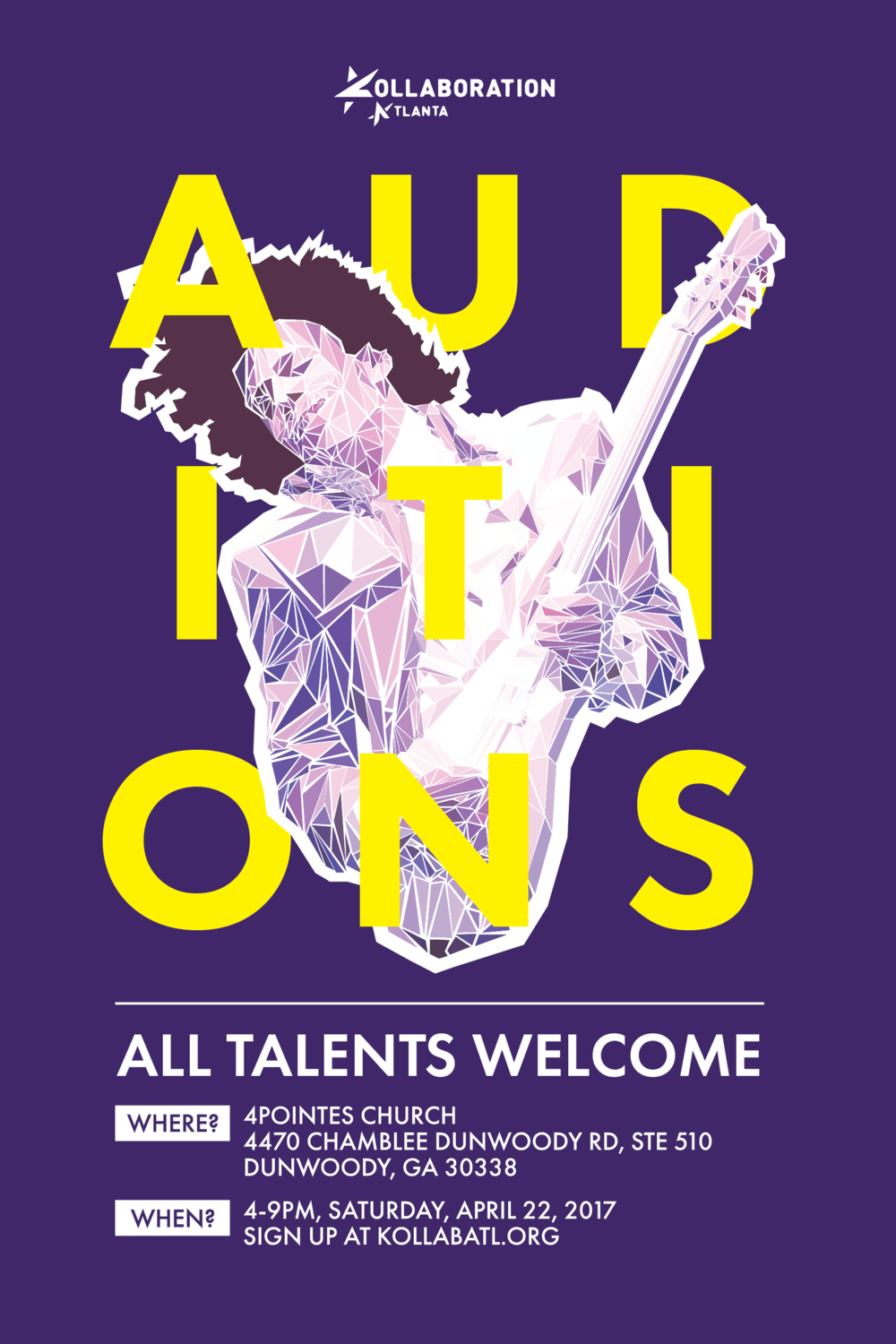 Kollaboration Auditions - To promote an annual talent show. Color scheme chosen based on Kollaboration's existing brand.