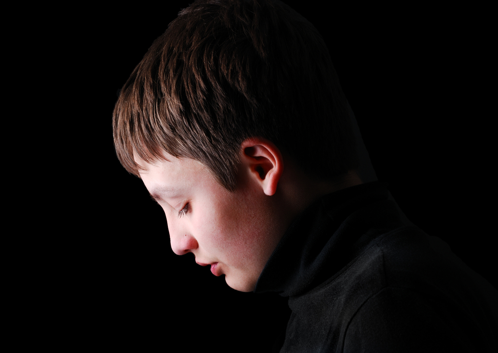 Child stressed and upset, which causing the defense posture