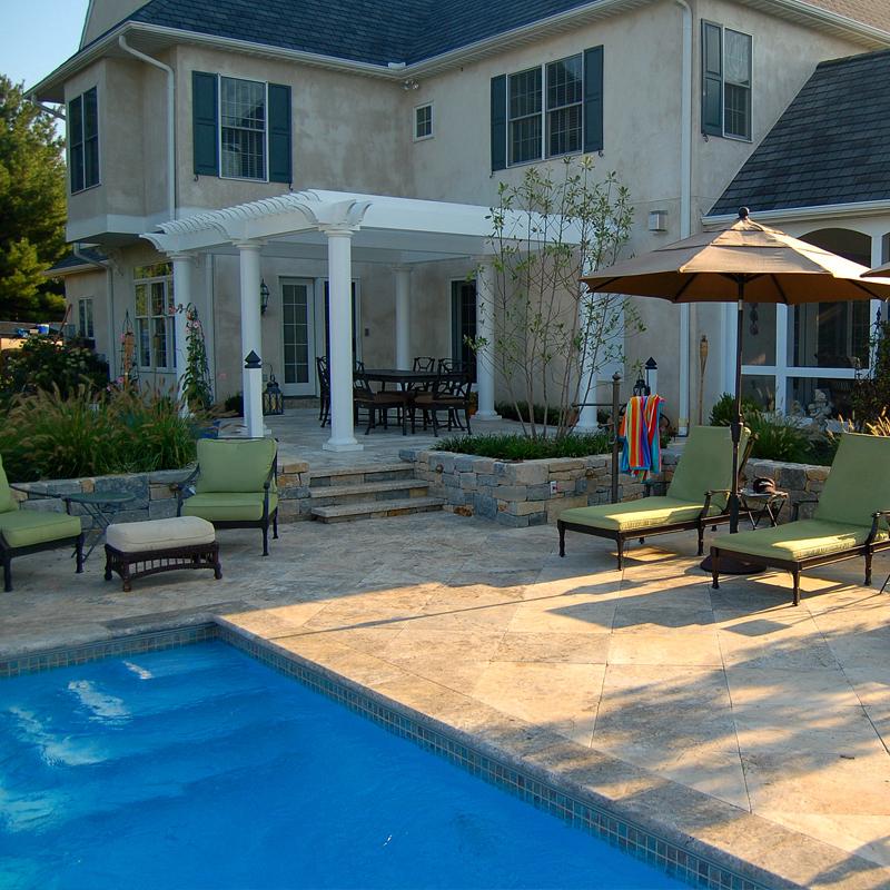 Swimming pool, pergola, outdoor kitchen, Travertine patio Lancaster Pa.