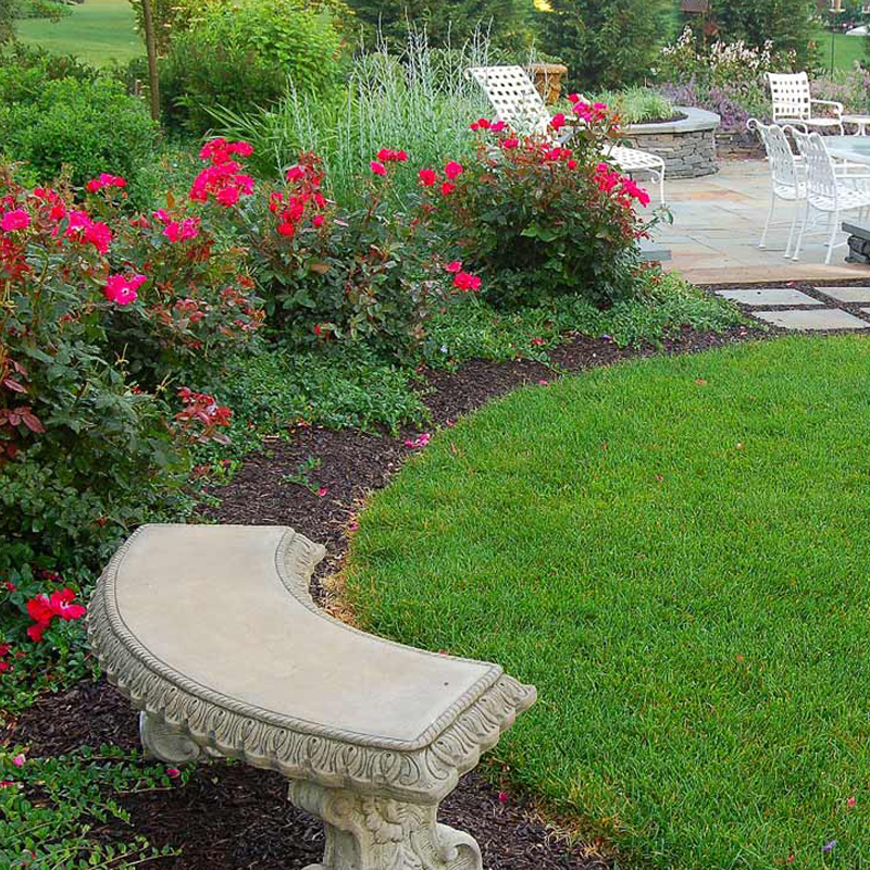 Flagstone patios and stone walls nestle this space in Lititz Pa.