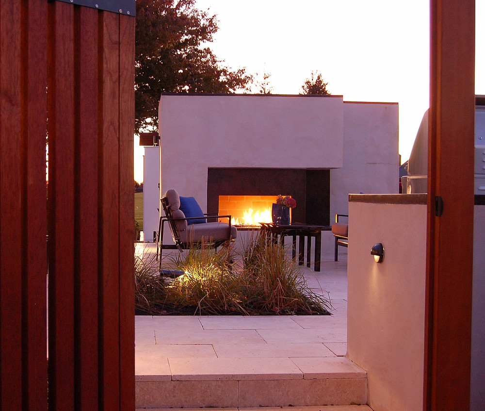 Outdoor fireplace landscape architecture