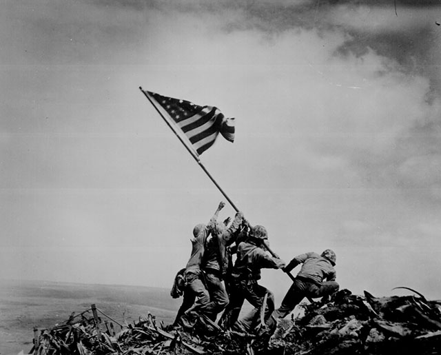 Raising the Flag on Iwo Jima  Joe Rosenthal Feb. 23, 1945