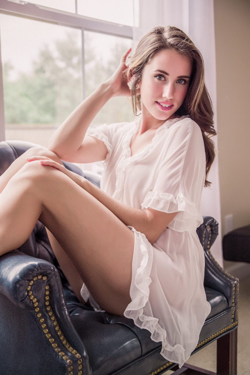 Gorgeous white bridal lingerie boudoir shoot by Boudoir by Marie in Charleston, SC.