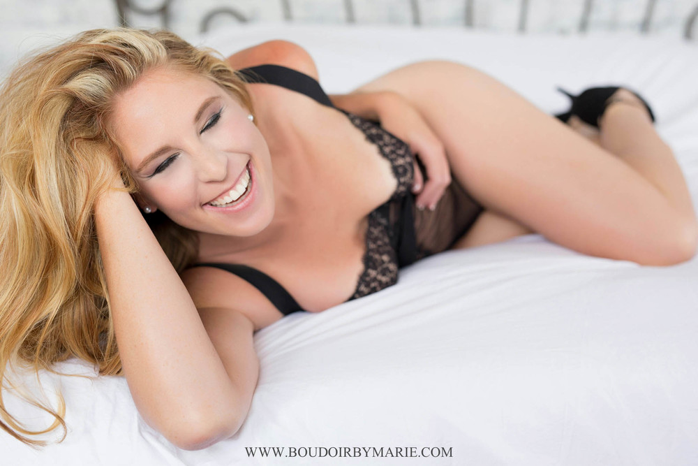 Happy girls are the prettiest girls! Lovely black lingerie and a smile by Boudoir by Marie in Charleston