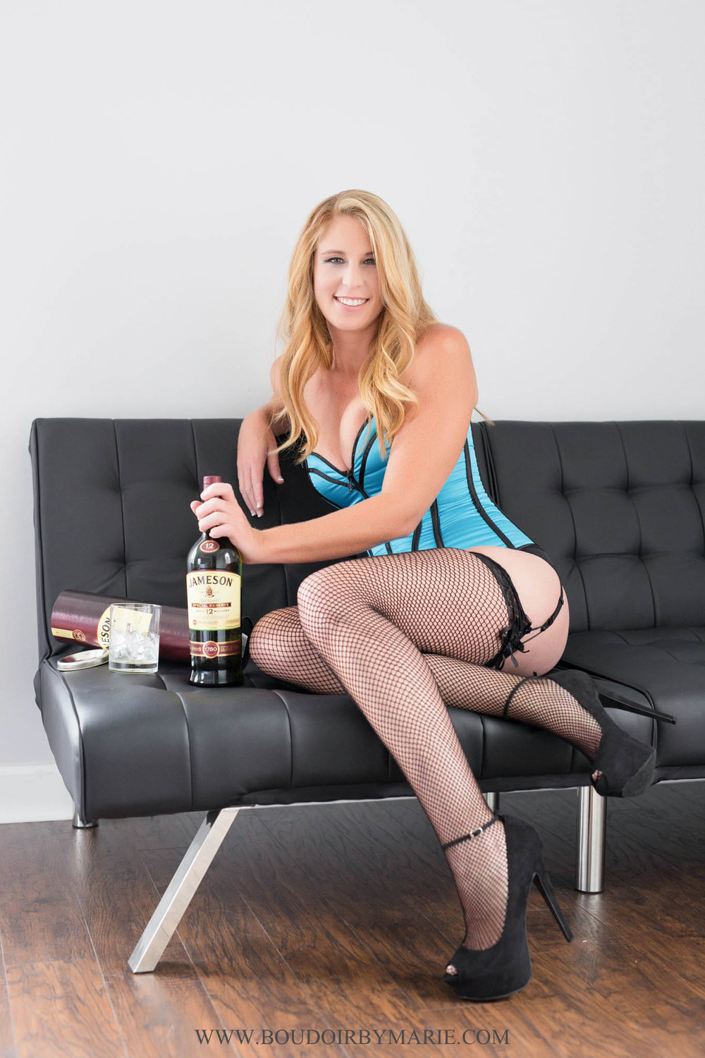 Fun boudoir props - Jameson whiskey for boudoir photo session