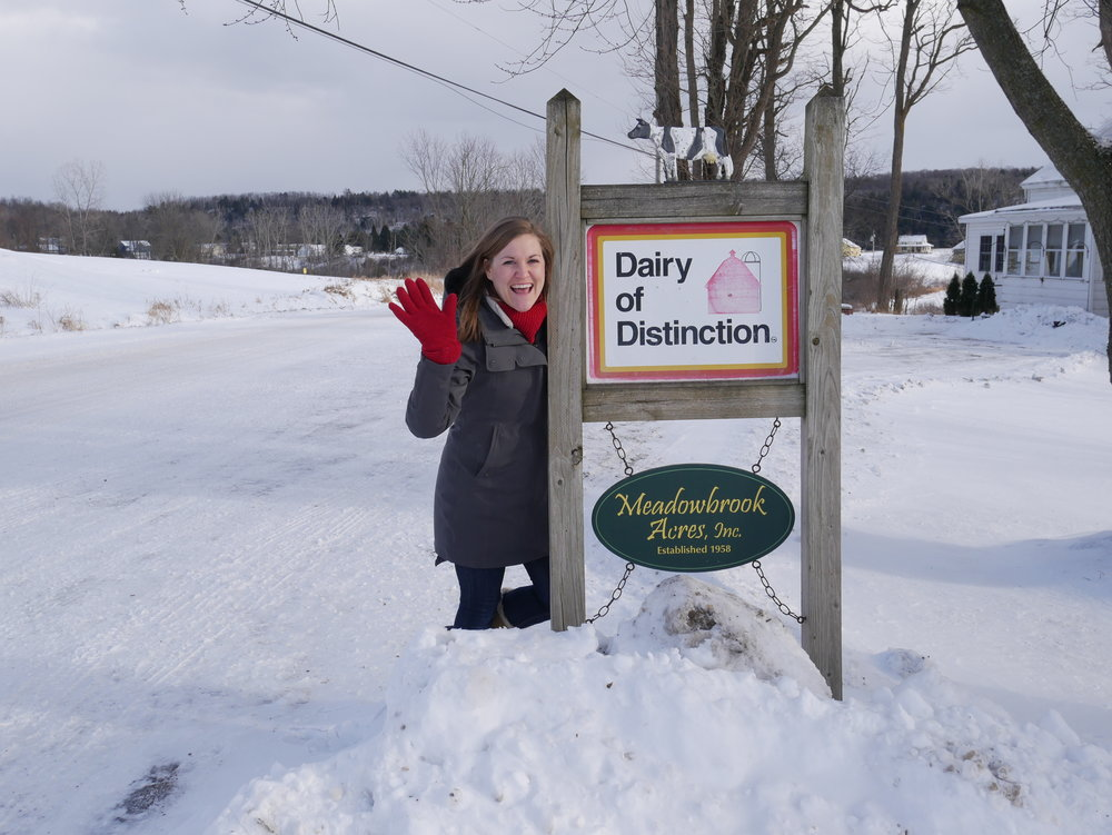 Teresa's Daughter, Kristine Stebbins, at the entrance to the farm.