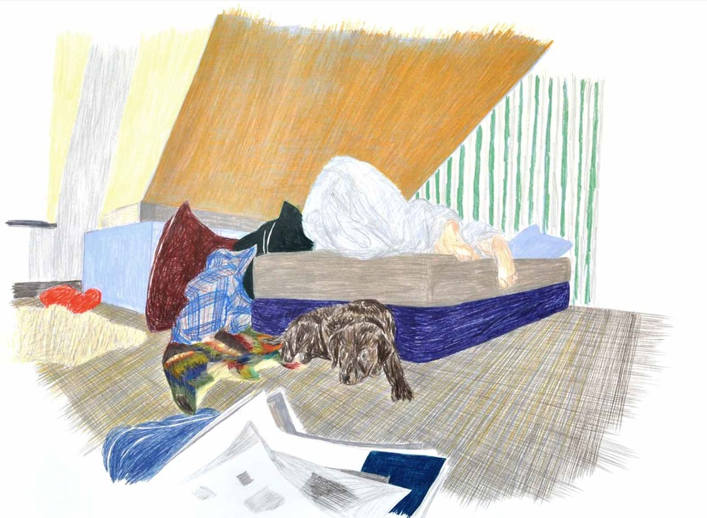 Sleeping , 2012 crayons on paper 105 x 75 cm
