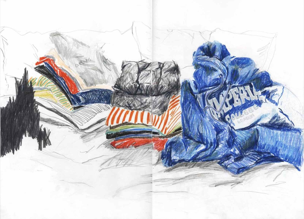 Alex's clothes , 2010 crayons on paper, sketchbook 59,4 x 42 cm