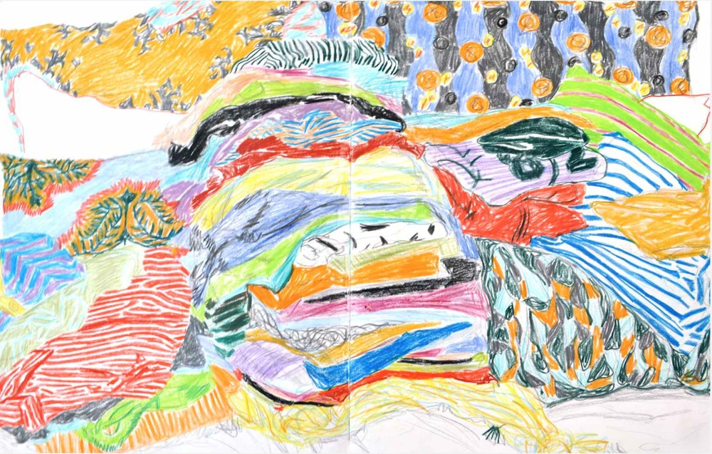 Pile of clothes , 2009 crayons on paper, sketchbook 59,4 x 42 cm