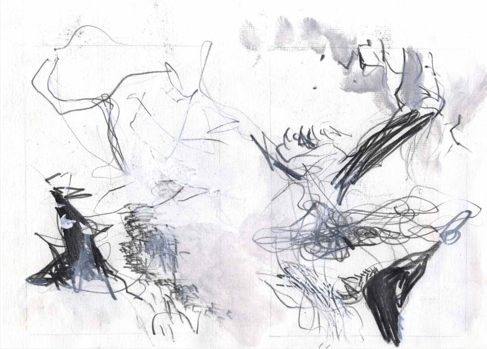 Abstract landscapes , 2010 graphite, charcoal, gouache on paper 20 x 14 cm