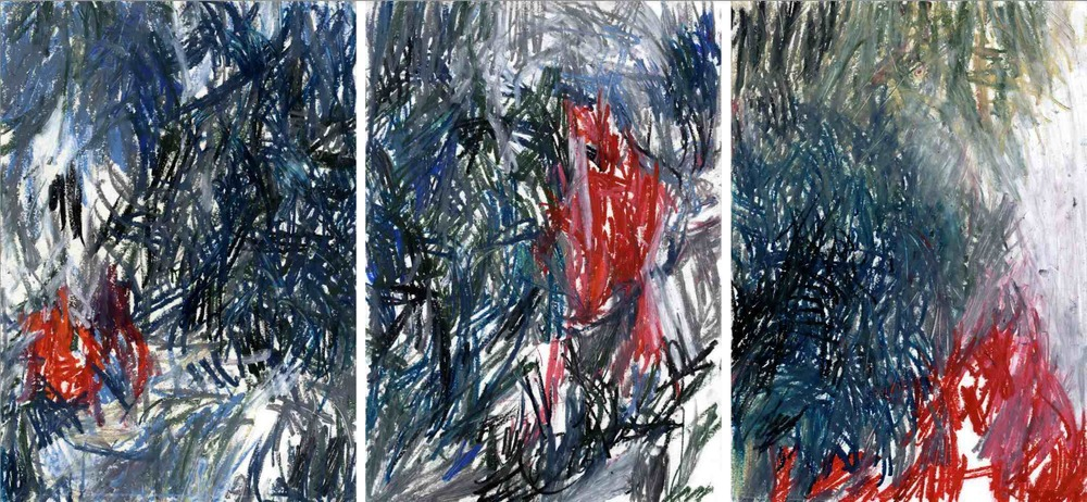 Deep forest , 2011 oil pastels on paper, serie of 3 42 x 29,7 cm each  (Private collection)