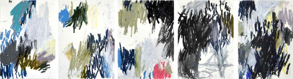 Slow walk , 2011 oil pastels on paper,serie of 6 42 x 29,7 cm each