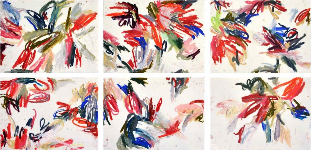 Stained-glass , 2011 oil pastels on paper, serie of 6 42 x 29,7 cm each