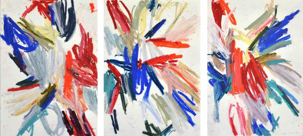 Ice cream , 2011 oil pastels on paper, serie of 3 42 x 29,7 cm each  (private collection)