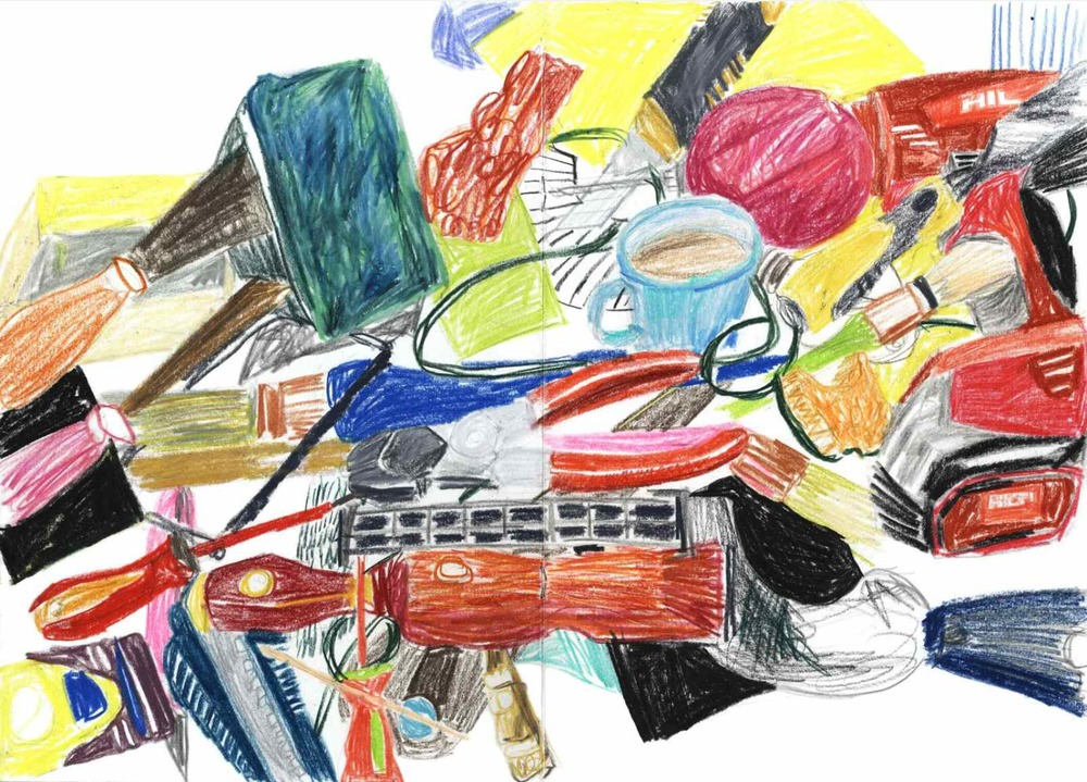 Tools , 2010 crayons on paper, sketchbook 29,7 x 42 cm