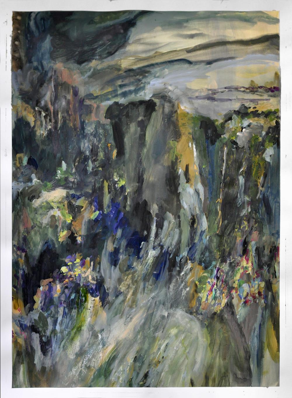 Niagara I ,2014 gouache and oil on paper 105 x 75 cm