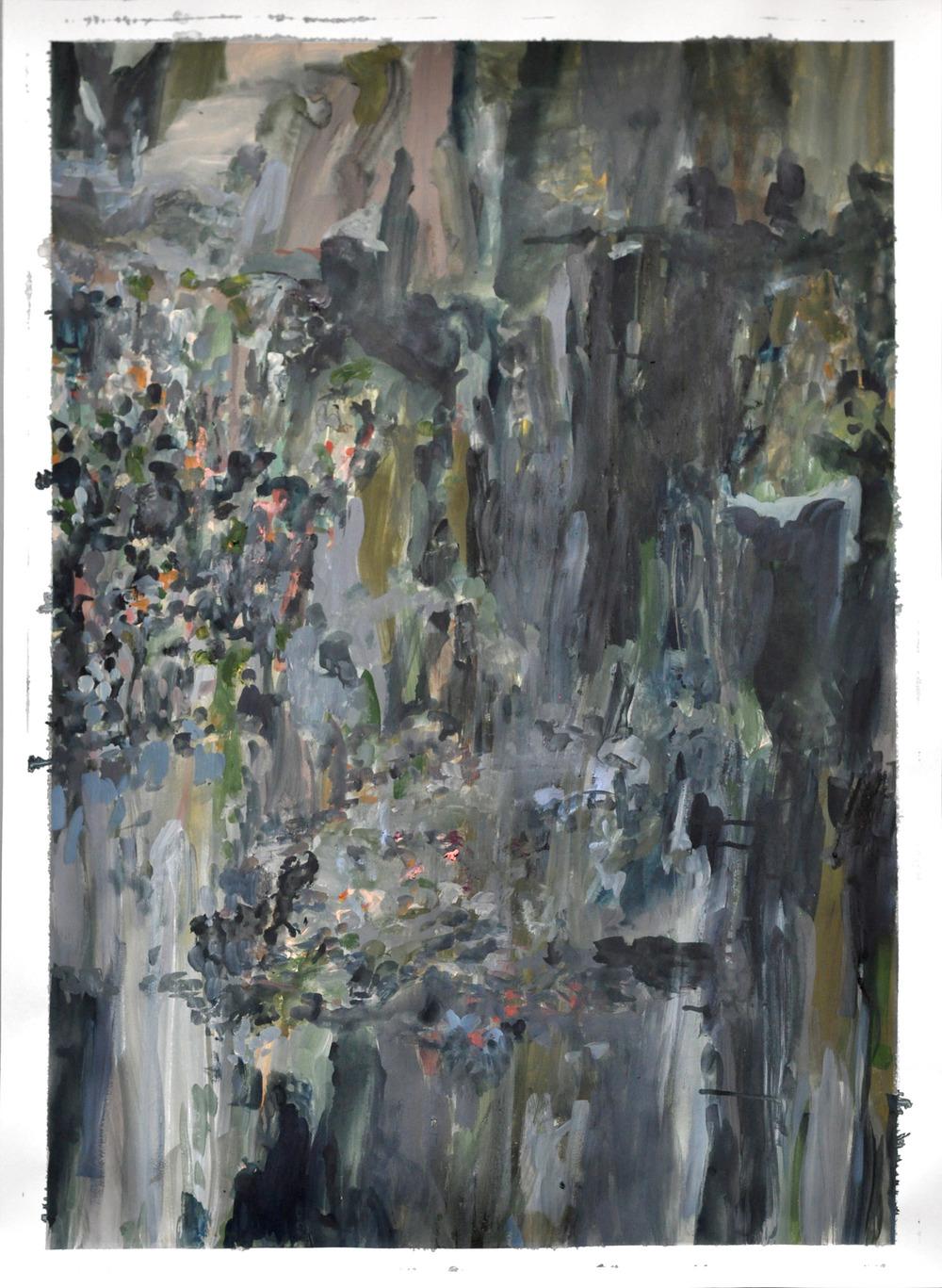Niagara II ,2014 gouache and oil on paper 105 x 75 cm