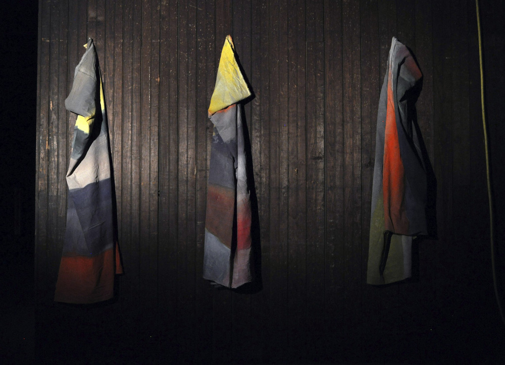 Abstract bodies , four painted fabrics, 150 x 200 cm each, 2012