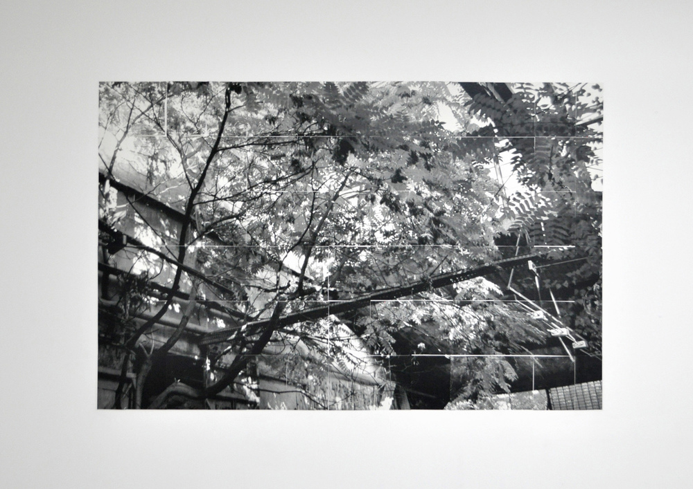 Neuwest , 2013 black and white photograph divided into 78 sections, pasted on wall 260 x 168 cm