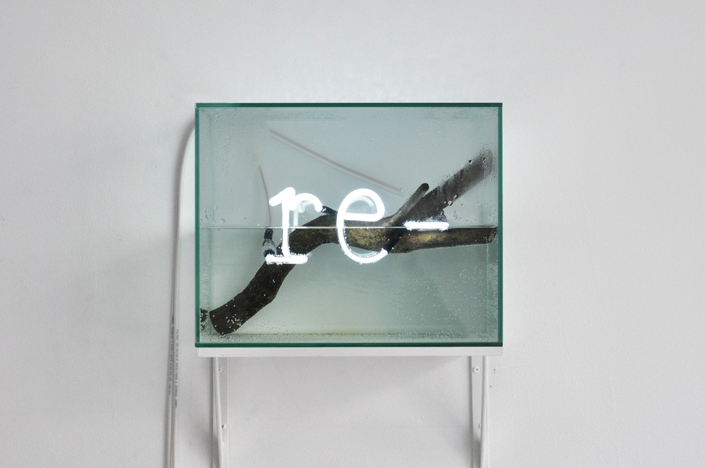 re -,  2015-16 neon, water, glass, wood 34 x 27 x 20 cm