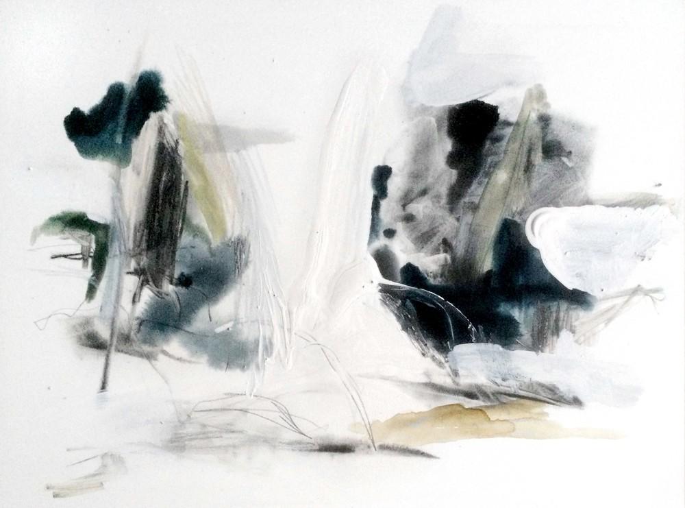 Denature I , 2014 ink, tempera, gouache, graphite, gesso on wood, 41 x 61 cm