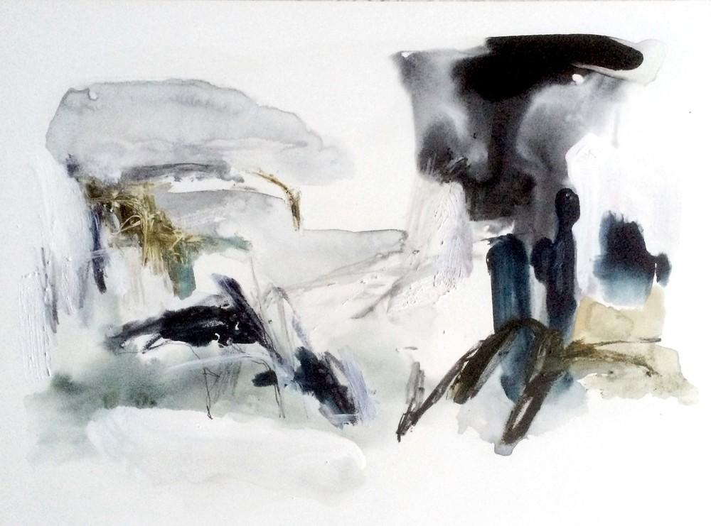 Denature II , 2014 ink, tempera, gouache, graphite, gesso on wood 41 x 61 cm