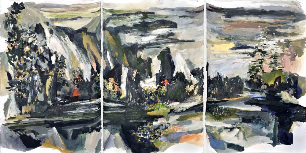 Pompompasos (after Carleton Watkins) , 2014 gouache and oil on paper 201 x 101 cm