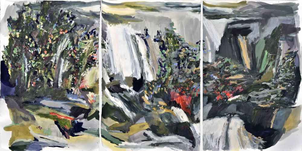 Piwyac (after Carleton Watkins) , 2014 gouache and oil on paper 201 x 101 cm