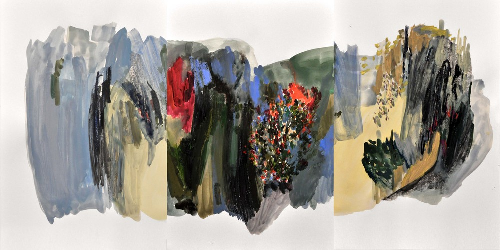 Puddle I , 2014 gouache and oil pastel on paper 144 x 60,5 cm