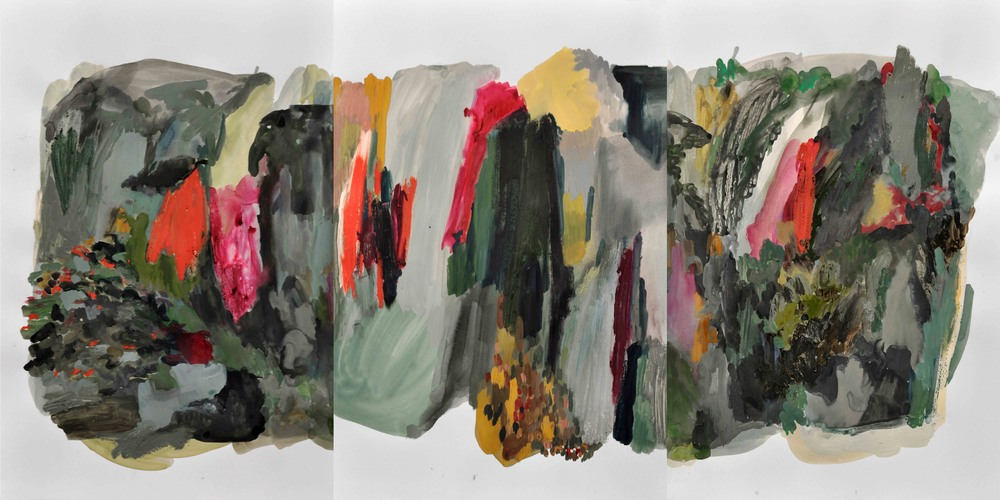 Puddle IV , 2014 gouache and oil pastel on paper 144 x 60,5 cm