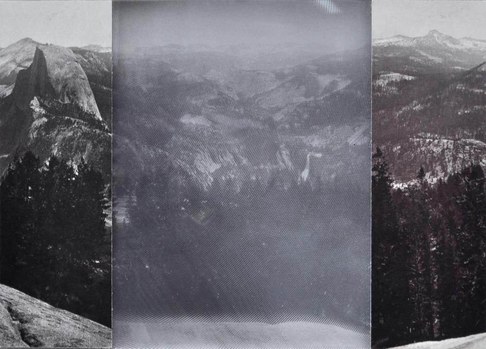 Sentinel Dome, Yosemite, 1865-66 , postcard,2016 collage, c-print, fresnel lens, cardboard 10,5 x 14,8 cm