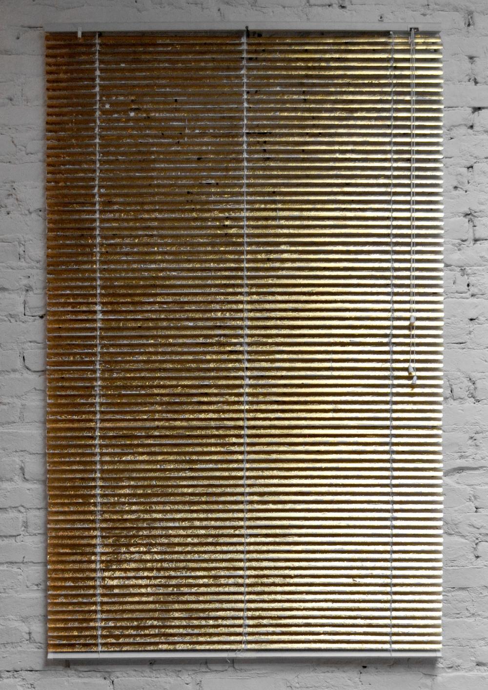 The Golden Window , gold leaf, vynil blind, 162 x 120 cm, 2015