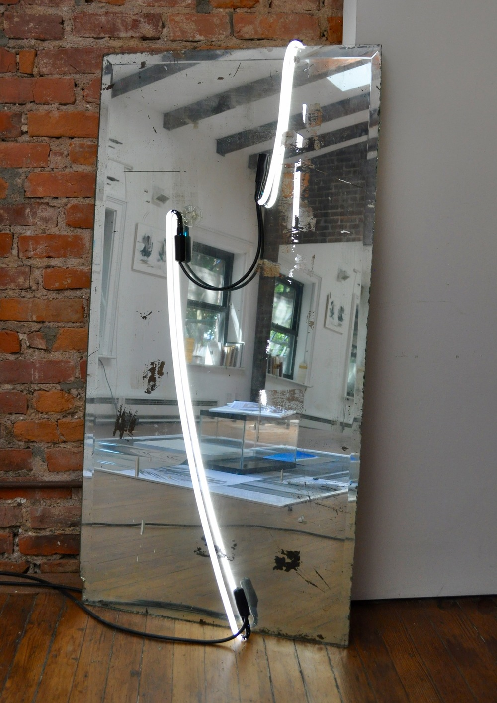 Mirror Piece , vintage mirror, neons, electrical cables, suction cup, 122 x 61 cm, 2016
