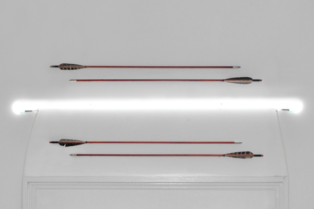 Playing Bow and Arrow , neon, four arrows, brass nails, dimensions variable, 2016