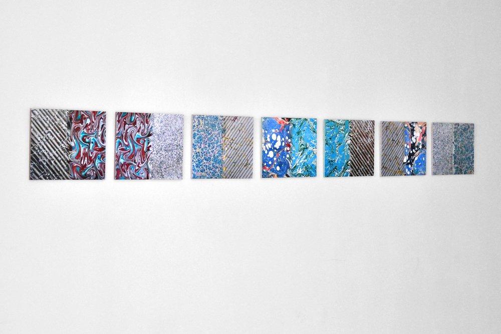 Ecritures (Essai, Atala, Génie, Génie, Voyage, Mémoires, Mémoires) (2015)  oil, inkjet print, sand paper on wood, series of 7 34 x 27 cm (10 5/8 x 13 3/8 in)  installation view, Le Huit,Paris, 2015